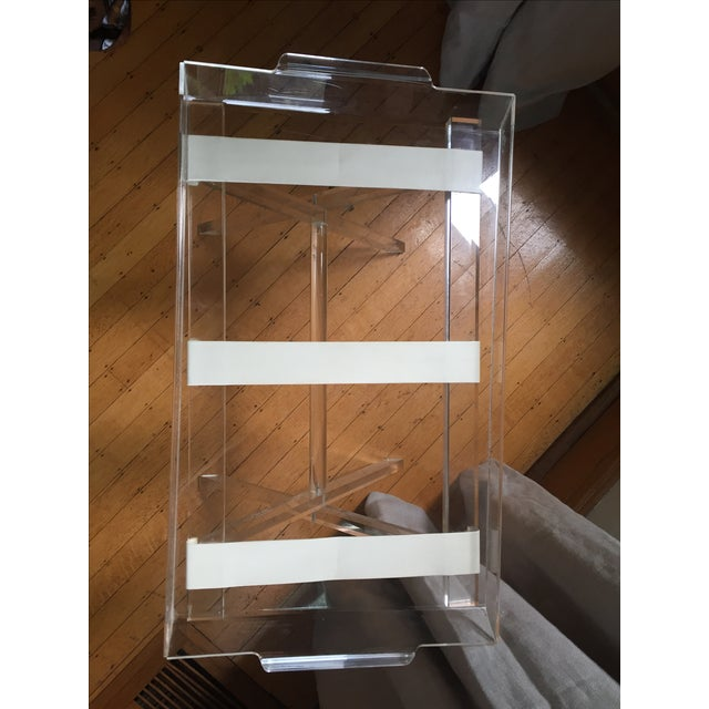 Scheibe Folding Lucite Luggage Rack With Tray - Image 5 of 7