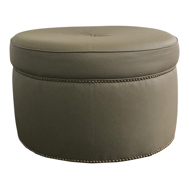 Custom Upholstered Green Leather Ottoman - Image 1 of 5
