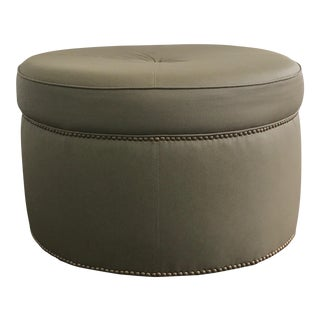 Custom Upholstered Green Leather Ottoman