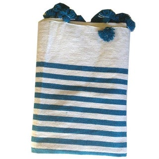 Turquoise Striped Moroccan Blanket with Tassels