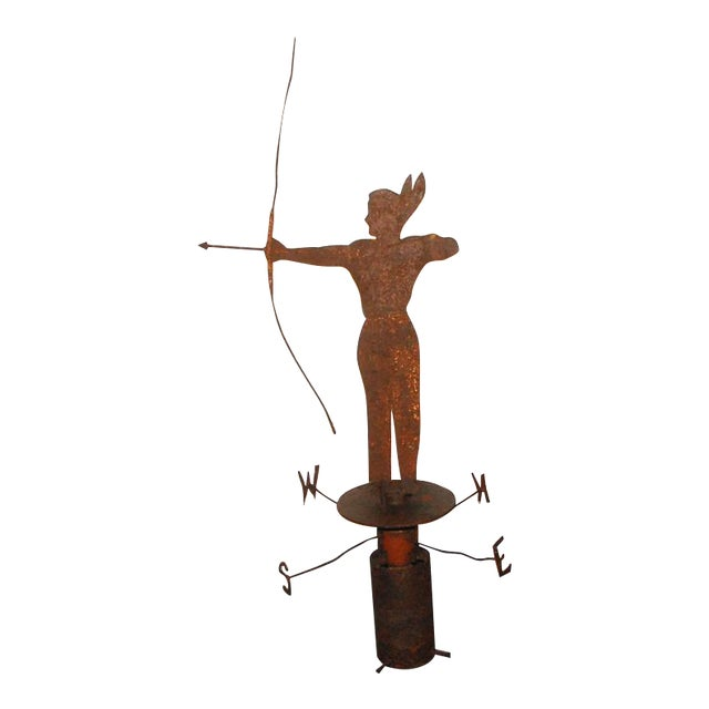 Rare 19th Century Original Painted Iron Indian Weathervane with Stand - Image 1 of 8