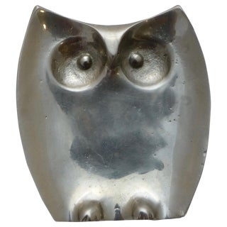 Mid-Century Pewter Owl Penny Tray