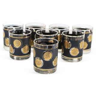 Midcentury Textured Coin Glasses - Set of 8