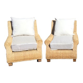Ralph Lauren Woven Club Chairs - A Pair