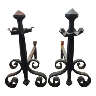 Antique Forged Steel Andirons - a Pair