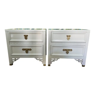 Dixie Vintage Chinoiserie White Nightstands - A Pair