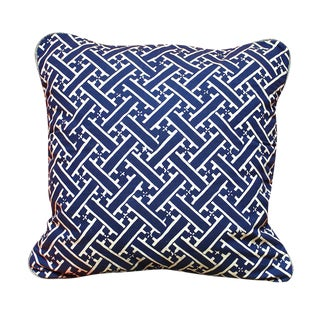 Indigo Hand-Stamped Batik Weave Pillow