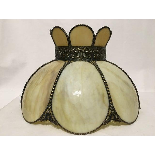 Cream & Tan Slag Glass Lamp Shade - Image 2 of 7