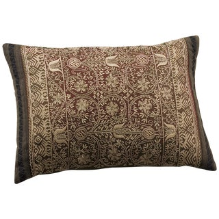 Rust & Black Chikan Embroidered Pillow Cover