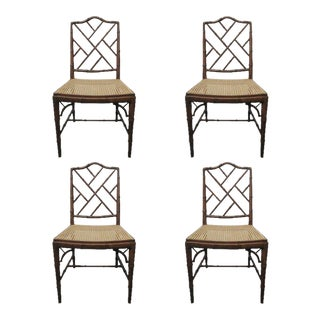 4 Faux Bamboo Chinese Chippendale Style Chairs