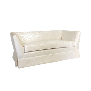 Hollywood Regency Style Silver Zebra Print & Cream Chenille Loveseat