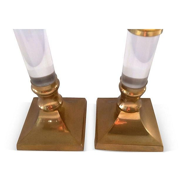 Image of Lucite & Brass Candle Holders - Pair