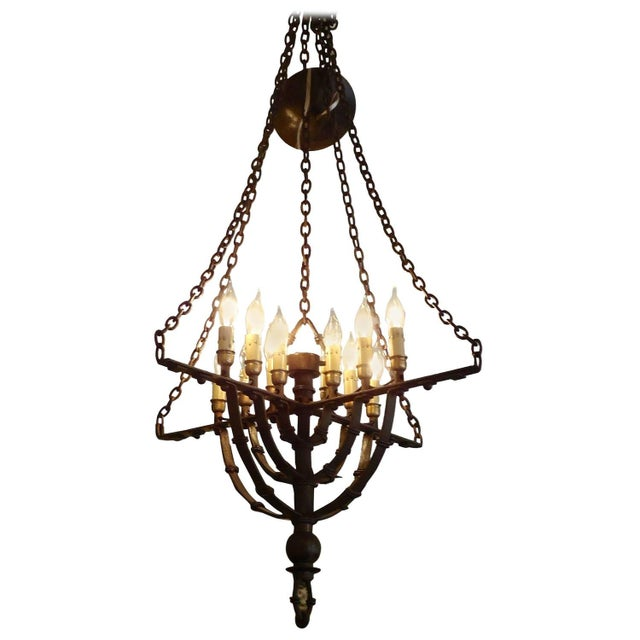 Image of Gothic Style Brown Wrought Iron Chandelier