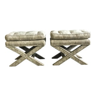 X-Frame Upholstered Benches - A Pair