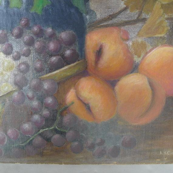 Image of Vintage Oil Painting Still Life of Fruit
