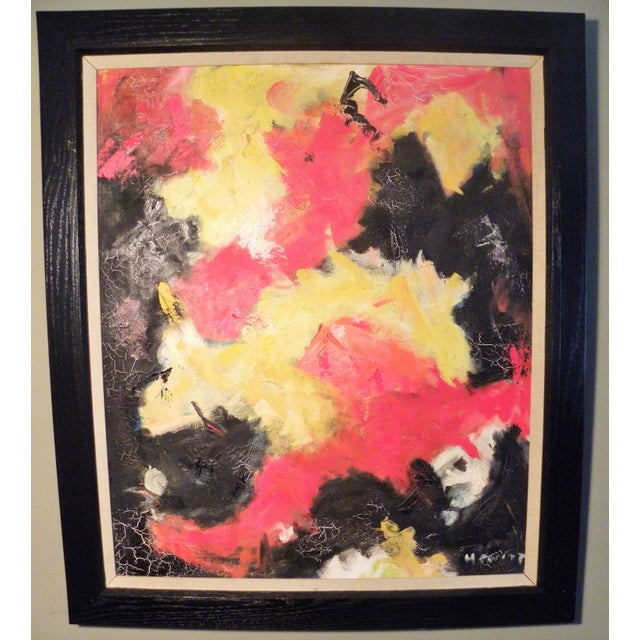 Mid-Century Modern Vibrant Abstract Painting - Image 2 of 6