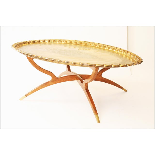 Vintage Moroccan Coffee Table with Brass Charger Top - Image 4 of 11