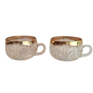 Gold Rimmed Punch Cups - A Pair