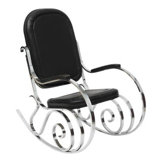 French Modern Polished Nickel Rocking Chair, Maison Jansen