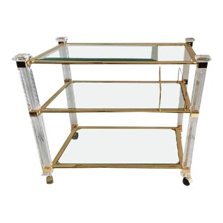Charles Hollis Jones Lucite & Brass Three-Tier Tea Cart
