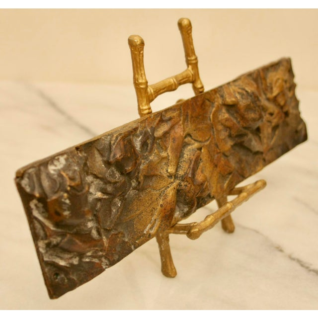 Bronze Abstract Panel on Faux Bamboo Easel - Image 3 of 8