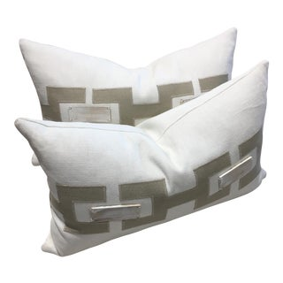 V Home Custom Ivory Linen With Wood Detail Kidney Pillows - a Pair