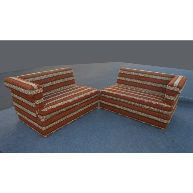 Mid-Century Modern Orange Stripped Sofa - Image 3 of 10
