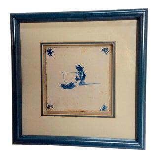 18th Century Delft Tile Framed Fisherman