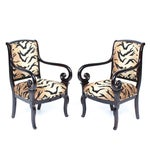 Image of Antique Italian Armchairs With Animal Print - Pair
