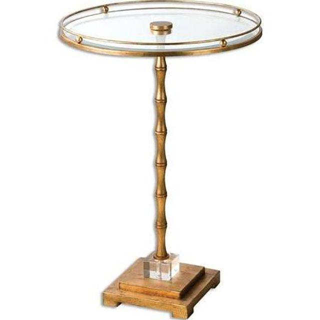 Image of Gold Glass Round Side Table