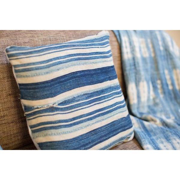 Striped Indigo Throw Pillow - Image 4 of 6