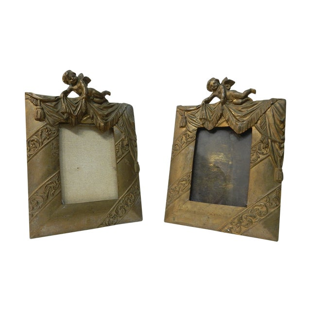 Antique Bronze Cherub Picture Frames - a Pair - Image 1 of 7