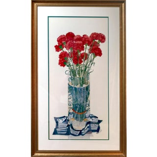 Red Carnations Still Life Offset Lithograph
