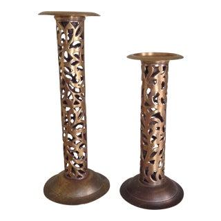 Vintage Modernist Brass Candleholders - a Pair