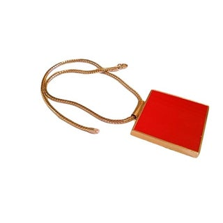Mid-Century Double-Sided Red Pendant Necklace