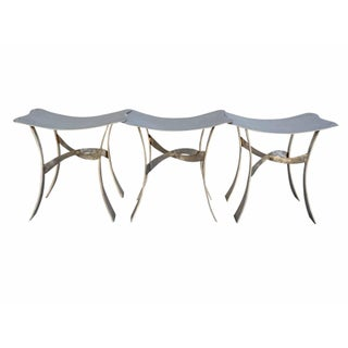 Post Modern Stainless Steel Connecting Stools - Set of 3