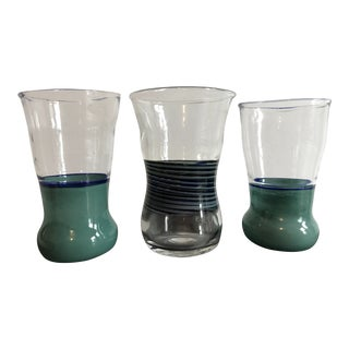 Blue & Turquoise Handblown Glasses - Set of 3