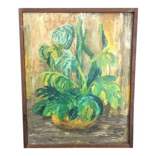 Mid-Century Potted Plant Oil Painting