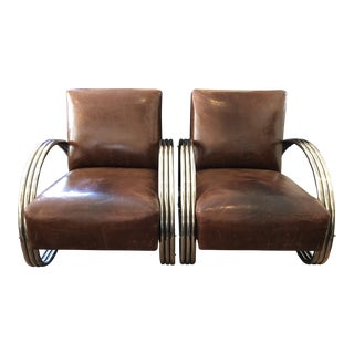 Ralph Lauren Home Hudson Street Lounge Chairs in Distressed Leather - a Pair