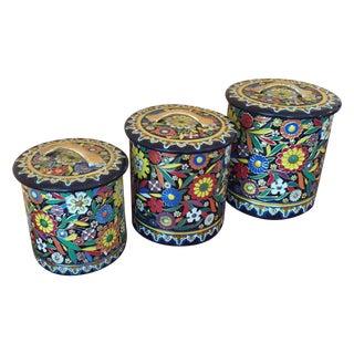 Vintage Embossed Enamel Tins - Set of 3