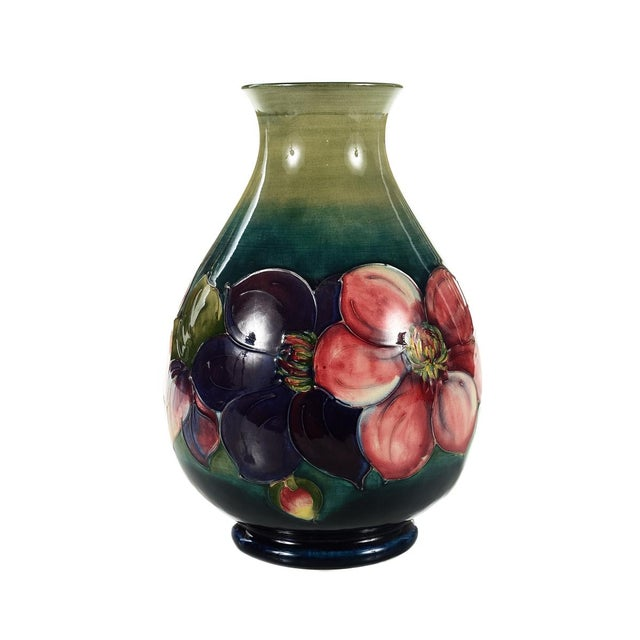 Moorcroft Green & Red Flowers Pottery Art Vase - Image 2 of 7