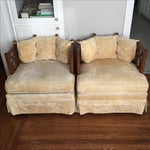 Image of Yellow Panel Back Barrel Chairs- A Pair