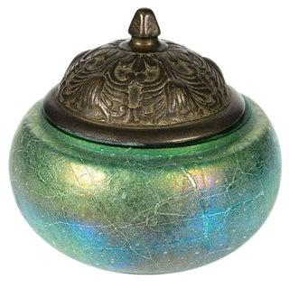 Early 20th-C. Iridescent Glass & Bronze Jar