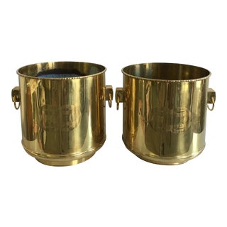 Brass Chinoiserie Bamboo Planters - A Pair