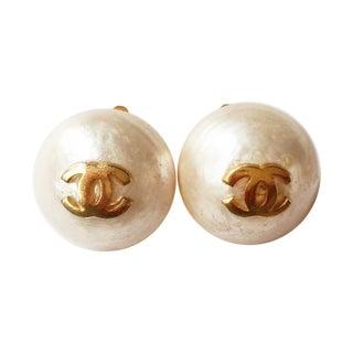 Vintage Chanel Jumbo Pearl Clip on Earrings