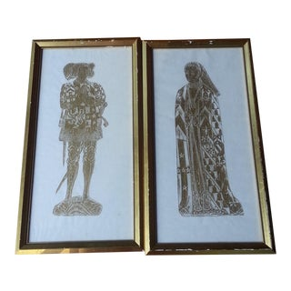 Vintage Brass Rubbings - A Pair