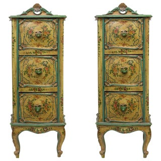 Pair of 19th Century Painted Venetian Lingerie Chests