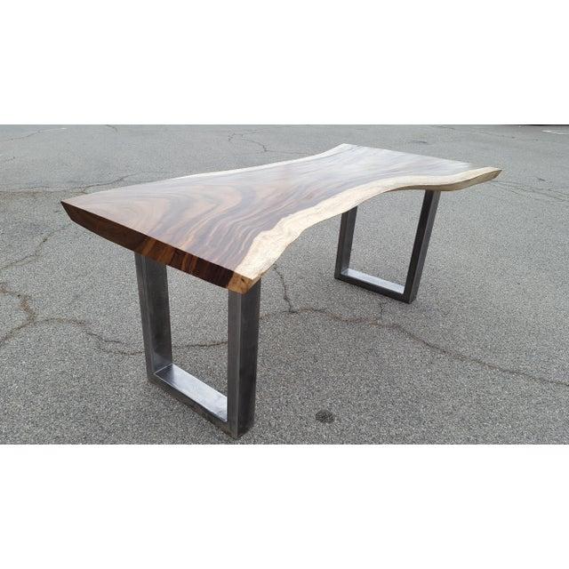 Solid Slab Acacia Live Edge Wood Table - Image 4 of 9