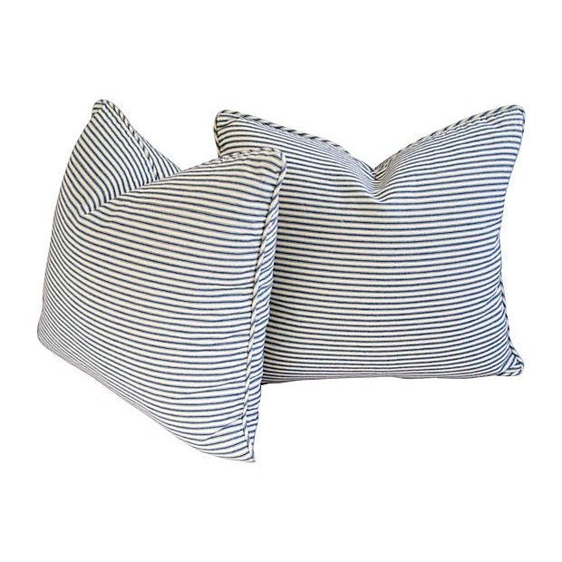 French Blue & White Ticking Pillows - A Pair - Image 5 of 7