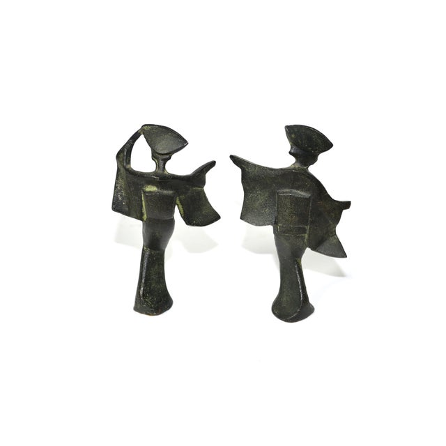 Image of Vintage Japanese Cast Iron Geisha Figures - A Pair